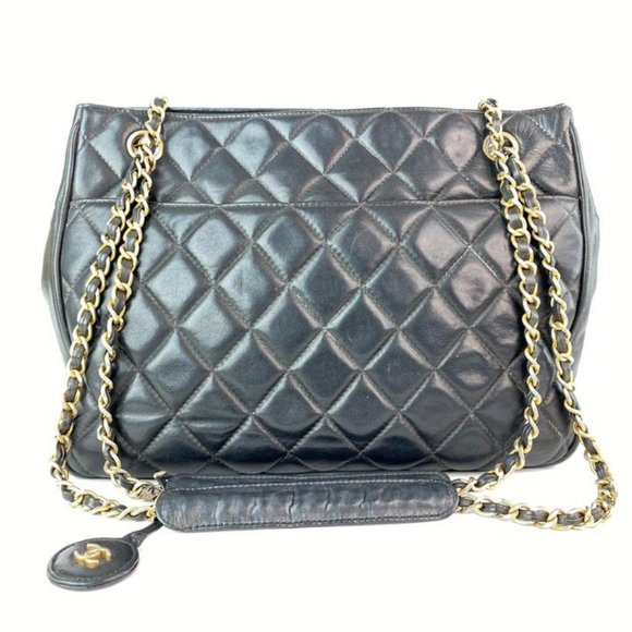 Chanel Handbags - Chanel Black Quilted Lambskin CC Gold Chain Tote